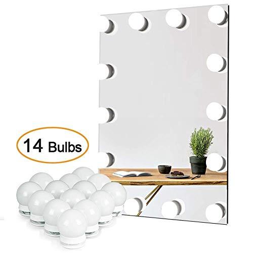 Waneway Hollywood-Stil LED Spiegelleuchte (Schminklicht, Spiegellampe),Schminktisch Spiegel Lichter Set f¨¹r Kosmetikspiegel mit Dimmfunktion,Spiegel Nicht Inbegriffen,14 LED-Lampen