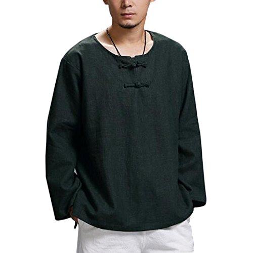 Classique Hommes Kung Fu Tops, Chemise de Tai Chi à Manches Longues Bouclée Lin Tang Tang Costume Chemises de Coton de Style Chinois