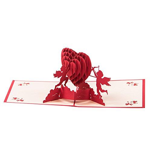 Glückwunschkarte'3D Herz von Amor geküsst' Originelle Geburtstagskarte, Glückwunschkarte, Einladungskarte, Grußkarte Verlobung Valentinstag Jahrestag Liebe Pop Up Karte blanko Karte Umschlag im Set