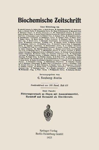 Futterungsversuch an Ziegen Mit Ammoniumacetat, Harnstoff Und Hornmehl ALS Eiweissersatz por Ernst Paasch
