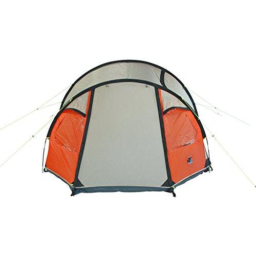 10T Mandiga 3 Orange - Tunnelzelt für 3 Personen, Campingzelt mit großer Schlafkabine, wasserdichtes Familienzelt mit 5000mm, Zelt mit 2 Eingängen und 2 Fenstern, Festivalzelt mit Dauerbelüftung, 3 Mann Zelt mit Tragetasche, Zeltheringe und Zeltgestänge - 3