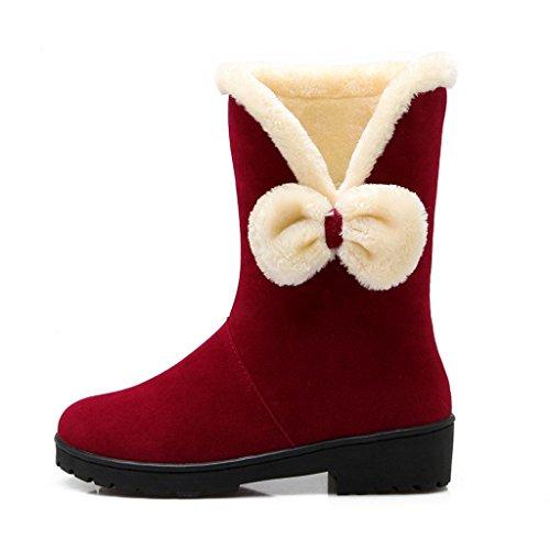 Mesdames Grande Taille Chaussure Féminine Noeud Papillon Gommage Bottes De Neige À Manches Plates Femmes Bottes Rouge