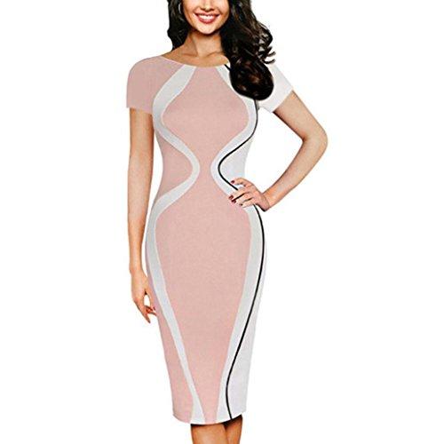 MRULIC Mode Damen Bodycon Kurzarm Party Business Style Bleistift Minikleid Gestreift Slim-Fit Kleider(Rosa,EU-38/CN-M) (Elf Kostüm Für Frau)
