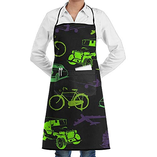 deyhfef Unisex Aircraft And Ship Car Chef Apron with Pockets Commercial Restaurant And Home Kitchen Apron for Chef,Baker,Servers,Waitress,Waiter,Craftsmen