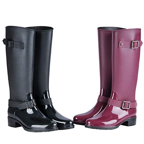 LILY999 Wellington Boots Women Waterproof Rain Boots Festival Wellies Boots Half-Height Zip Rubber Shoes,Best Chioce for Casual and Daily Wear