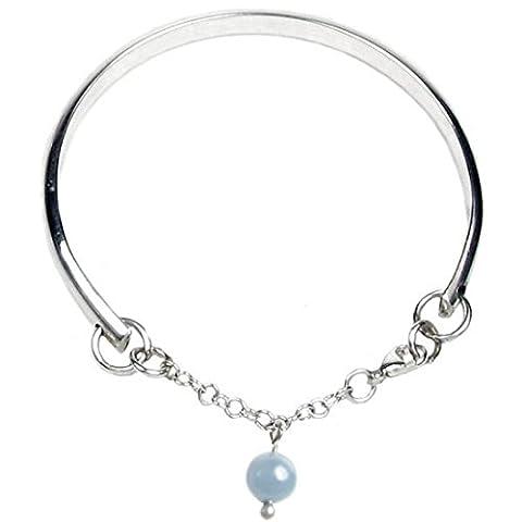 Cœur à cœur poinçonné argent sterling Bracelet charm perle de cristal pour Demoiselles d'honneur–Gravure et personnalisé gratuit Box Ribbon–12mois de