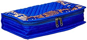 Amazon Brand - Solimo Quilted Jewellery Kit, Blue