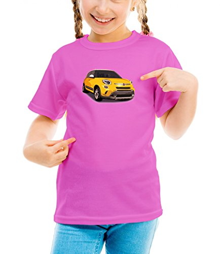 Billion Group | Yellow Cute | City Cars Collection | Girls Classic Crew Neck T-Shirt Pink Small