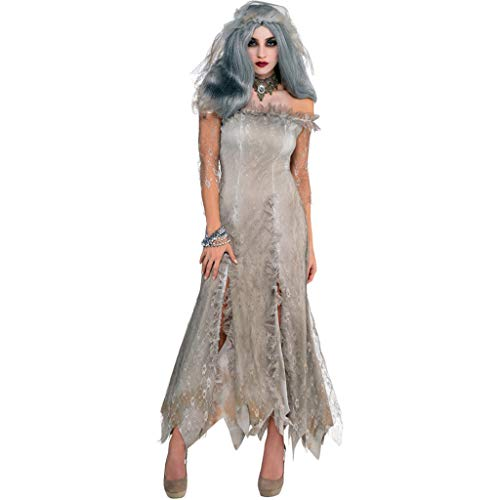 Haunted Kostüm Geist - QWEASZER Damen sexy Haunted House weiblichen Geist kostüm Halloween Cosplay cos Zombie Dress bar Nachtclubs Club Party Dance bühnenkostüme,Grey-M