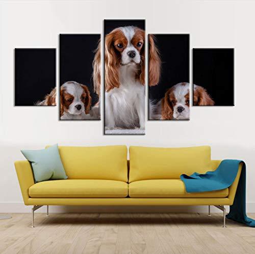 Wiwhy (Kein Rahmen) Wohnkultur Leinwand Malerei Cuadros 5 Stücke Tier Hund Hd Druckt Wandkunst Modulare Für Nacht Hintergrund Bilder Kunstwerk Poster