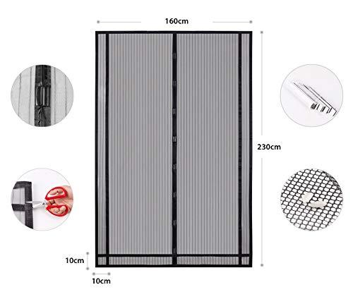 Sekey - Cortina Magnética para Protección Contra Insectos para Puerta de Balcón, de Sótano, Se Puede Cortar en Altura y Ancho, Cierre Magnético Automático (230 x 160 cm) Negro