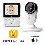 Baby monitor video KODAK CHERISH C220 — display HD da 2.8', app mobile, telecamera ad alta risoluzione, controllo da remoto dello zoom,audio bidirezionale, visione notturna,WIFI