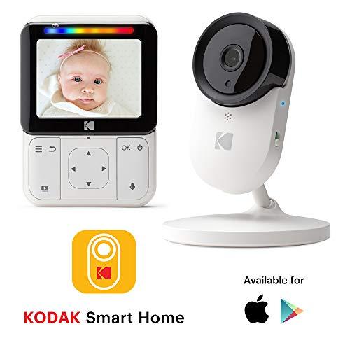 KODAK CHERISH C220 Video-Babyphone - 2,8-Zoll-HD-Babymonitor & Mobile App, HD-Kamera, ferngesteuerter Zoom, Zwei-Wege-Audio, Nachtsichtfunktion, lange Reichweite und WiFi