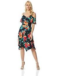 5830b26ccd64a Roman Originals Women Hanky Hem Cold Shoulder Dress Knee Length Fit and  Flare - Ladies Summer