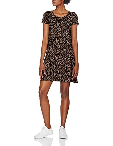 ONLY NOS Damen Onlbera Back Lace Up S/S Dress JRS Noos Kleid, Mehrfarbig (Black AOP: Leo Print), 36 (Herstellergröße: S)