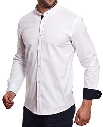 Carisma -  camicia casual - tinta unita - collo alla coreana - manica lunga - uomo bianco xl