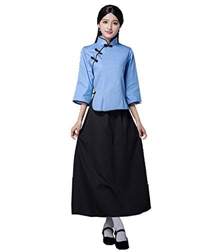 ZENGAI Frau Studio Kleidungsstück Chor Rosenrot chinesischer Stil Schüler Show Kleidung Weiblich (Farbe : Blue Set-1#, größe : ()