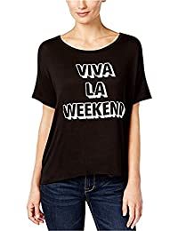 Max-MPH Retro Brand Womens Viva LA Weekend Graphic T-Shirt Black XS