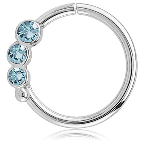 viva-adorno Knorpel Piercing Ring Kristall Ohrpiercing Helix Cartilage Tragus Nasenring 316L Chirurgenstahl Z489, Ring 3X Silber/Aqua