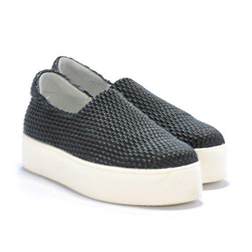 FRAU 37Y0 nero scarpe donna sneakers slip-on elasticizzata plateaux 37