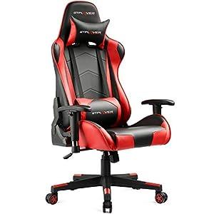 GTPLAYER Gaming Stuhl Bürostuhl Schreibtischstuhl Kunstleder Drehstuhl Chefsessel Höhenverstellbarer Gamer Stuhl Ergonomisches Design (Rot)