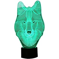 KAKA Store - Lámpara de oficina con efecto óptico, diseño lobo 3D efecto escultura de luz, en 7 colores cambiantes, botón USB., acrílico, zorro, 7.4*5.7inch
