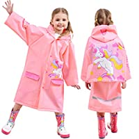 Kids Rain Coat Inflatable Hooded Rainproof Cape Waterproof Jacket Boys Girls Poncho Reusable Rainwear