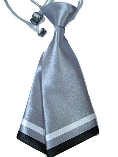 Damen mädchen mode vorgebunden satin schleife krawatte doppelschichtig Krawatte 10+ farben party kostüm von Fett-Catz-Kopie-catz - Silber Damen Krawatte, One size