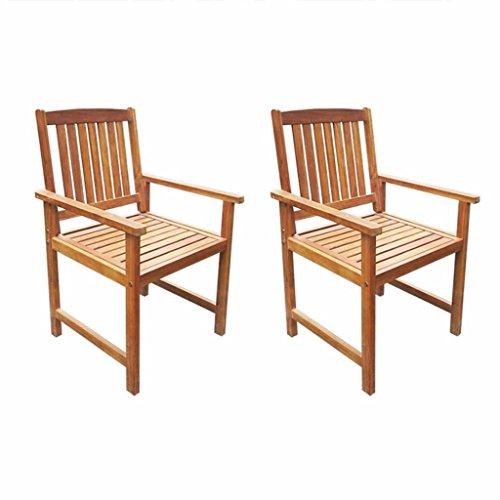 SHENGFENG chaises de Camping Marron, Lot de 2, Bois Massif, Fauteuil Extérieur Set de chaises de Jardin 57 x 60 x 92 cm