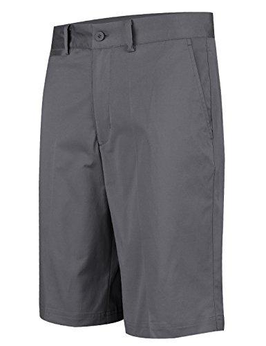 Lesmart Herren Golf Shorts Entspannter Fit Schnelltrocknend Kühler Sommer Flache Hose Größe 46 Grau (Khaki Entspannt Fit)