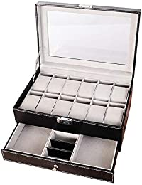 Olydmsky Caja de Reloj de 12 Posiciones Caja de joyería de Doble Capa Caja de Almacenamiento