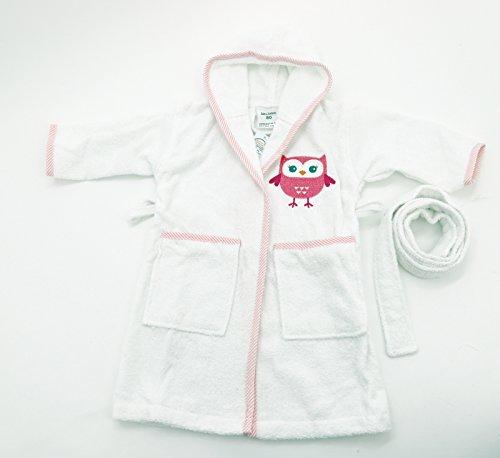 Kuscheliger Baby Bademantel aus 100% Baumwolle Größe 86 bestickt mit Eule in pink rosa Hautfreundlich Ökotex geprüft Geschenk Set Serie Typ485