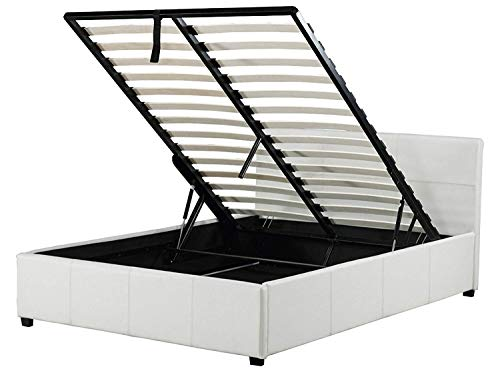 Right Deals UK Caspian Ottoman Gas Lift Up Storage Bed - White 4ft Small Double