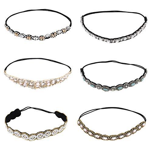 Stirnband Haarband 6 Stück Elastische Perlen Stirnband Schmuck Kopf Haarbänder Wickeln Set Handgemachte Kristall Strass Frauen Retro