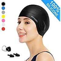 arteesol Swimming Caps - Silicone Swim Cap Swimming Hats Anti-Slip Waterproof Bathing Cap for Long Hair Women and Men