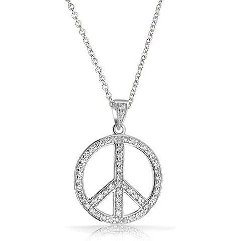 Bling Jewelry CZ Plata Esterlina Collar Colgante Símbolo de la Paz 16 en