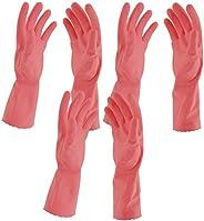 Primeway® Flocklined Medium Rubber Hand Gloves, 3 Pairs (Pink)