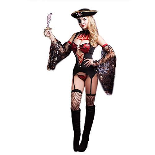 Kostüm Boxen Frauen - HJG Piratenkostüm Frauen von Sexy Buccaneer, Fluch der Karibik Box Set, 8-teiliges Kreuzfahrtschiff-Zubehör