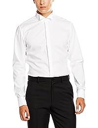 Seidensticker Herren Smoking Hemd Slim Langarm mit Kläppchen-Kragen und Umschlagmanschette aber ohne Manschettenknöpfe bügelfrei