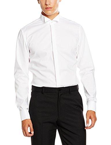 Seidensticker Herren Smoking Hemd Slim Langarm mit Kläppchen-Kragen und Umschlagmanschette aber Ohne Manschettenknöpfe Bügelfrei,Weiß (Weiß 01),45