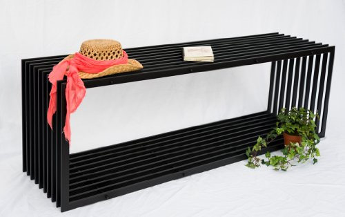 DanDiBo Bank D-Stil 150 cm Modern Gartenbank 10103 Sitzbank aus Metall Eisen Blumenbank - 2