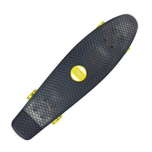 D Street Polyprop Grande 28 Mini Cruiser Skateboard (Charcoal/Yellow) 2015