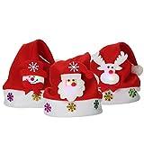 Cappello di Natale Cosplay Costume per Halloween Natale Berretto a Luce LED di Babbo Natale Ragazzo Ragazza 3 Pezzi Incluso-Très Chic Mailanda (Taglia unica, Rosso)