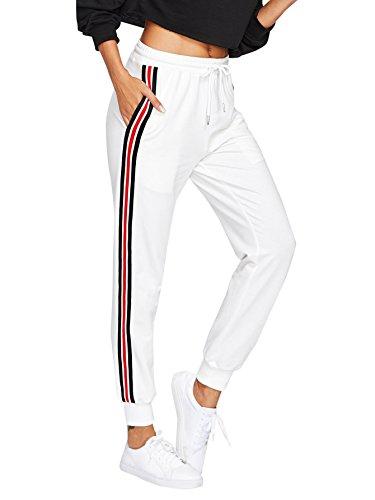 DIDK Damen Hosen Sporthose Casual Streifen Sweathose Elastischer Bund Jogginghose mit Taschen Weiß L