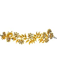 Mansiyaorange Metal Multi Purpose Party Wedding Wear Golden Hair Accessory/Hair Comb/Hair Clip/Hair Tiarra Hair...