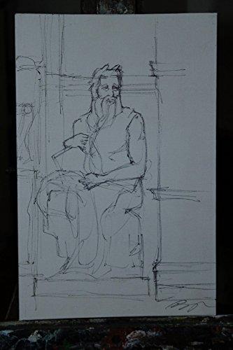 michelangelos-moses-study-cardboard-canvas-size-77x01x118-inch-black-ink-design-handmade-made-in-ita
