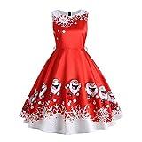 VJGOAL Damen Kleid, Gute Qualität Weihnachten Geschenke Hübscher Weihnachtsmann-Druck Elegante Florale Spitzenröcke Vintage Tee Hepburn Ballkleid Partykleid (Rot, 40)