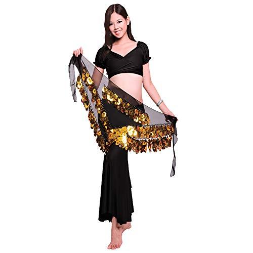 ROYAL SMEELA Bauchtanz Hüfttuch Kostüm für Frauen Tanz umhüllt Rock Flamenco Zigeuner Gold Silber Münze Dreieck Hüften Schals Bauchtanz-Kleidung - Bauchtanz Hüfttuch Chiffon