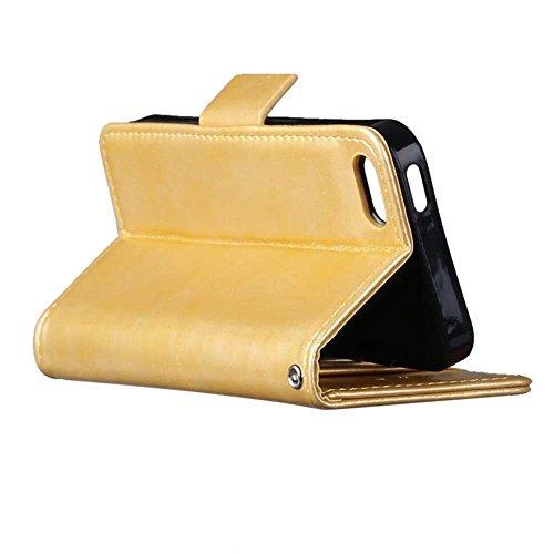 iPhone Case Cover Solid Folio couleur Stand Wallet Case Avec 3 Card 1 Cash Slots latérale magnétique Buckle Pattern pour IPhone 5S SE ( Color : Black , Size : IPhone 5S SE ) Gold
