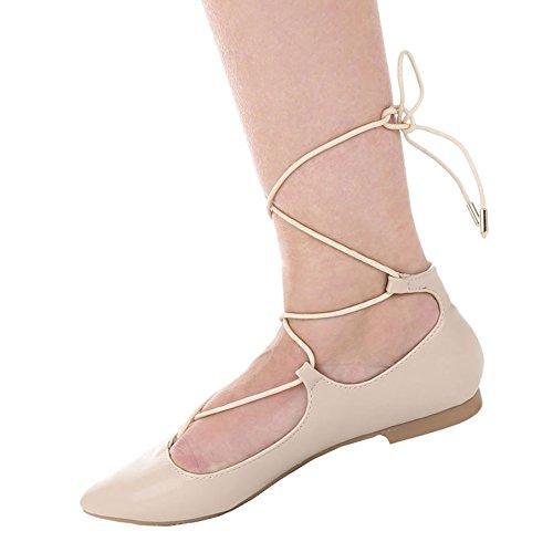 Damen Pumps Schuhe Elegant High Heels Mit Schnürung Beige